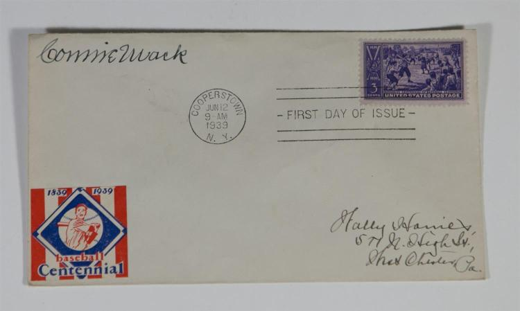 1939 Baseball Centennial First Day Postal cover signed by Connie Mack, mailed from Cooperstown, NY on June 12, 1939. This was also t...