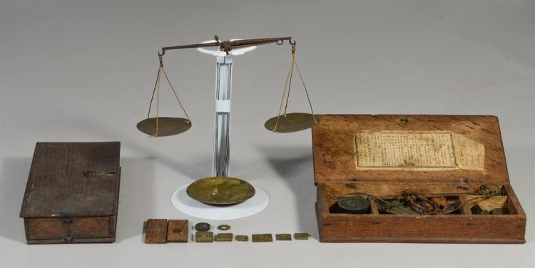 (2) 18th c English money or coin scales in oak cases, the inside of one lid with original printed paper label