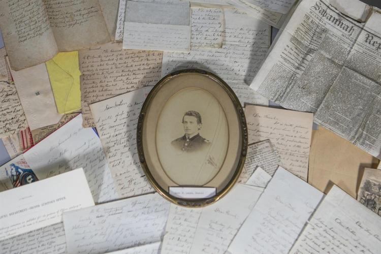 Oval photographic portrait identified as Isaac L Landis, dated verso July 26, 1865, muster out date from CW service, along with his ...