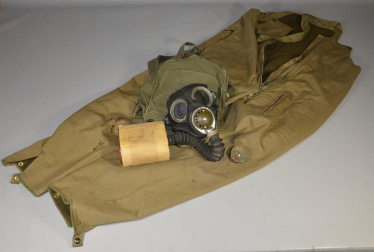 Pair of WWII Japanese bombardier pants with gas mask, fair condition with wear and stains