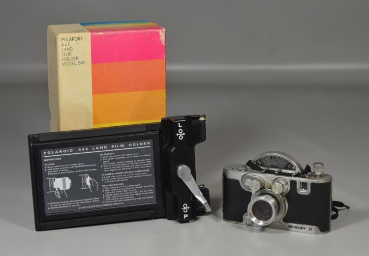 Mercury II 35 mm camera, together with Polaroid Land film camera, fair condition, camera not tested
