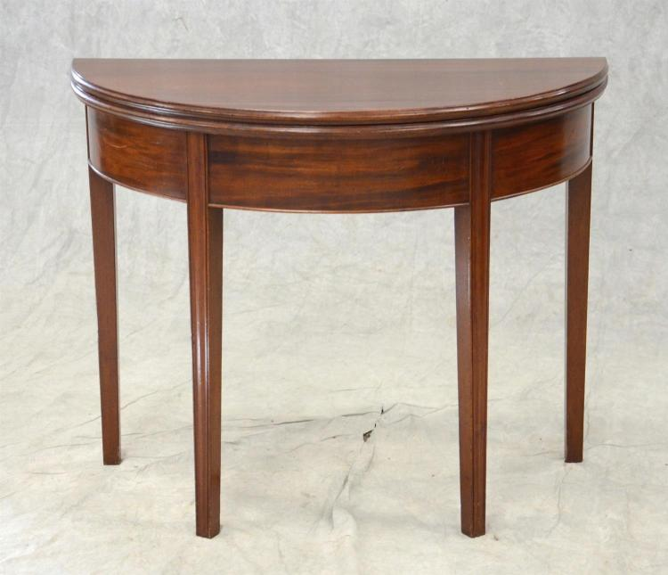 Mahogany Hepplewhite demilune card table, molded edge top, square tapered legs, PA, late 18th c, 36
