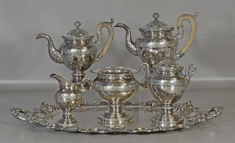 5 pc Fletcher & Gardiner, Philadelphia coin silver tea set, c/o 2 pots, the tallest 10 1/4