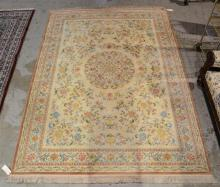 Hand made French style rug, with fringe added at a later date, 8''7