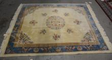 Chinese rug with central medallion, cream and blue, 8''1
