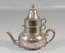 Mexican sterling silver stacking teapot with creamer and sugar, marked with unknown makers mark , sterling, 925, & Hecho en Mexico, ...