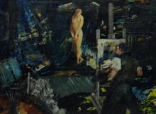 """John Grabach (Amer. 1886-1981) painting """"Artist and Model"""", depicting Grabach in his studio, oil on board, signed John R. Grabach, 1..."""
