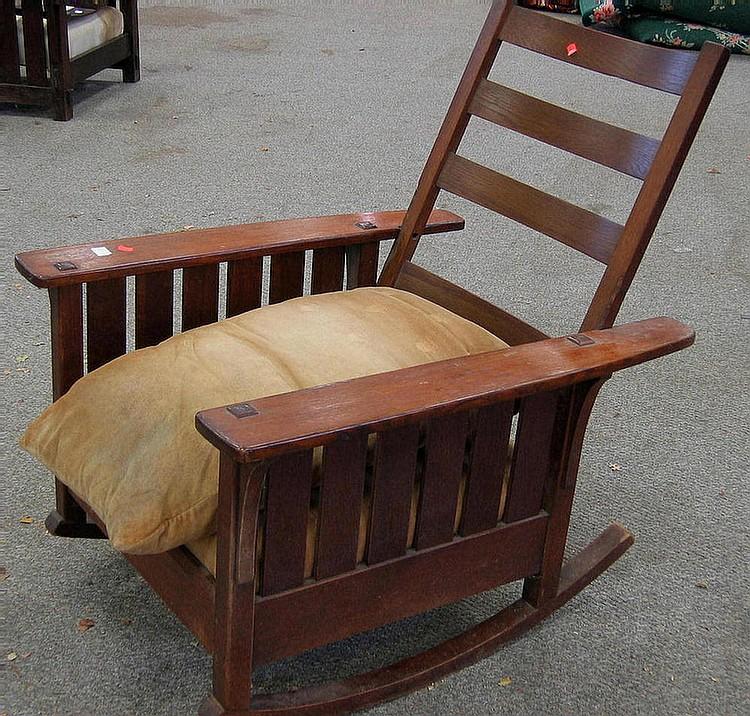 Swell L J G Stickley Mission Oak Rocking Morris Chair C 1910 Creativecarmelina Interior Chair Design Creativecarmelinacom