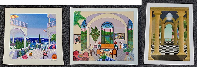 (2) Francois Ledan, French, b 1949, lithograph, both unframed: Sitting Room  with Views, edition 225/350, Signed lower right, unfram...