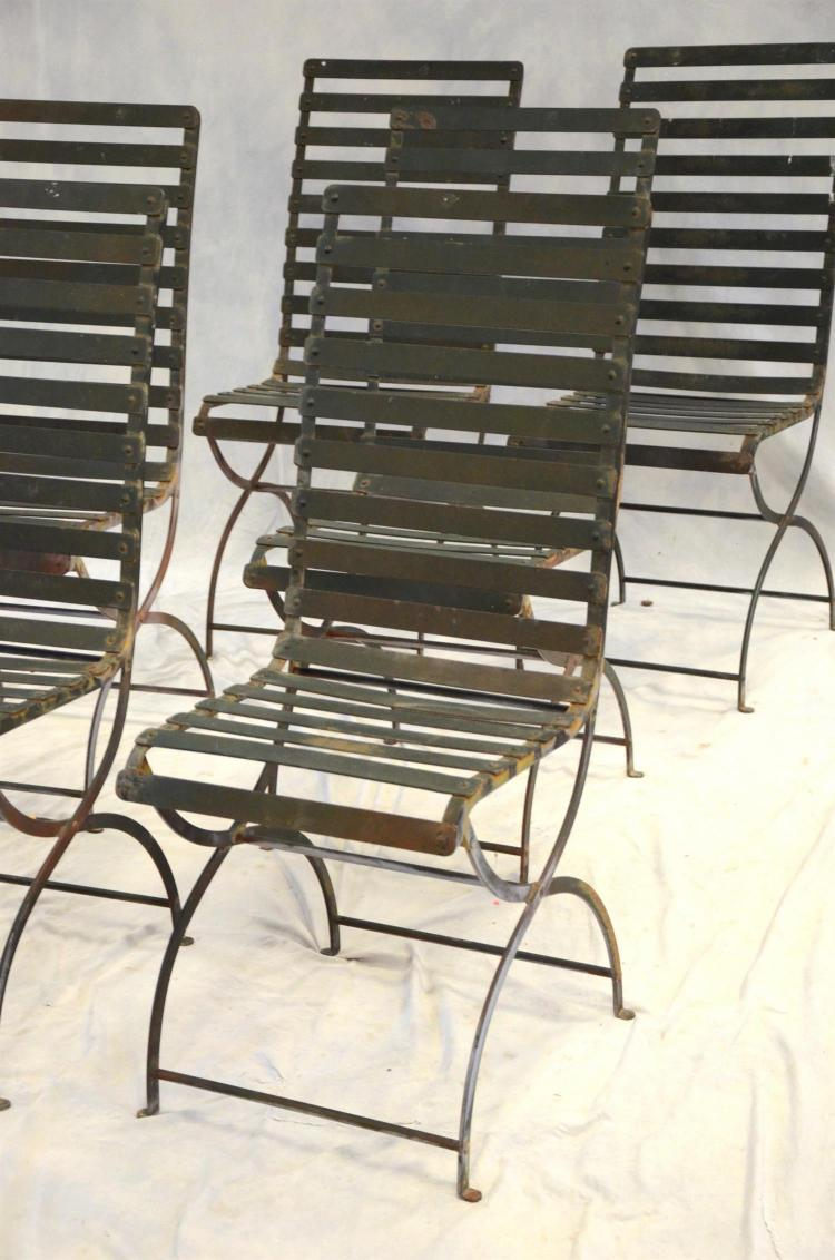 """6 Chair Patio Set Cover: (6) Metal Mid-century Style Slat Back Patio Chairs, 40"""" H X"""
