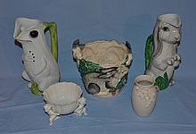 Italian gecko pitcher with damage at spout, Italian rabbit pitcher with damage at spout, two planters, and a vase.