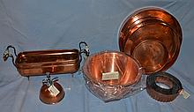 8 pieces of copper, including a footed planter, a cake mold, a sprayer, and four pans.