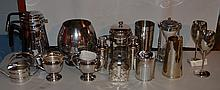 15 pieces of silver plate and stainless steel barware and kitchenware, along with an hourglass