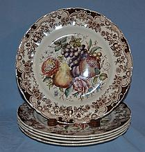 12 Johnson Brothers Windsorware transfer fruit decorated plates.