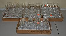 3 sets of clear shrimp cocktail dishes (2 sets of 12, one of 11), with 26 inserts.