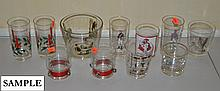 Approximately 110 pieces of various clear glass stem and barware, some with enameled decoration.