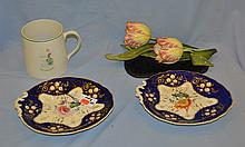 Tulip ceramic figure, 2 English floral decorated dessert dishes, and a large mug.