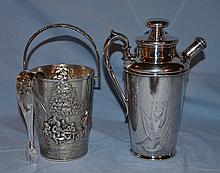 Danish silver plate ice bucket with tongs, along with a plated silver cocktail shaker.