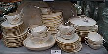 79 pcs Lenox wheat pattern dinnerware, s/12 plus 7 serving pcs