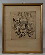 Thomas Handforth, American, 1897-1948, Etching, Arab Merchants, Pencil signed lower right, 6 1/2