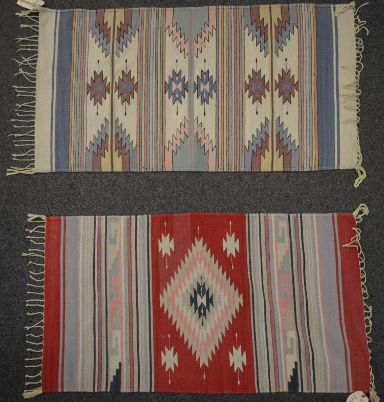 2 Vintage Navajo Style Mexican Rugs Hand Woven Wool Rugs