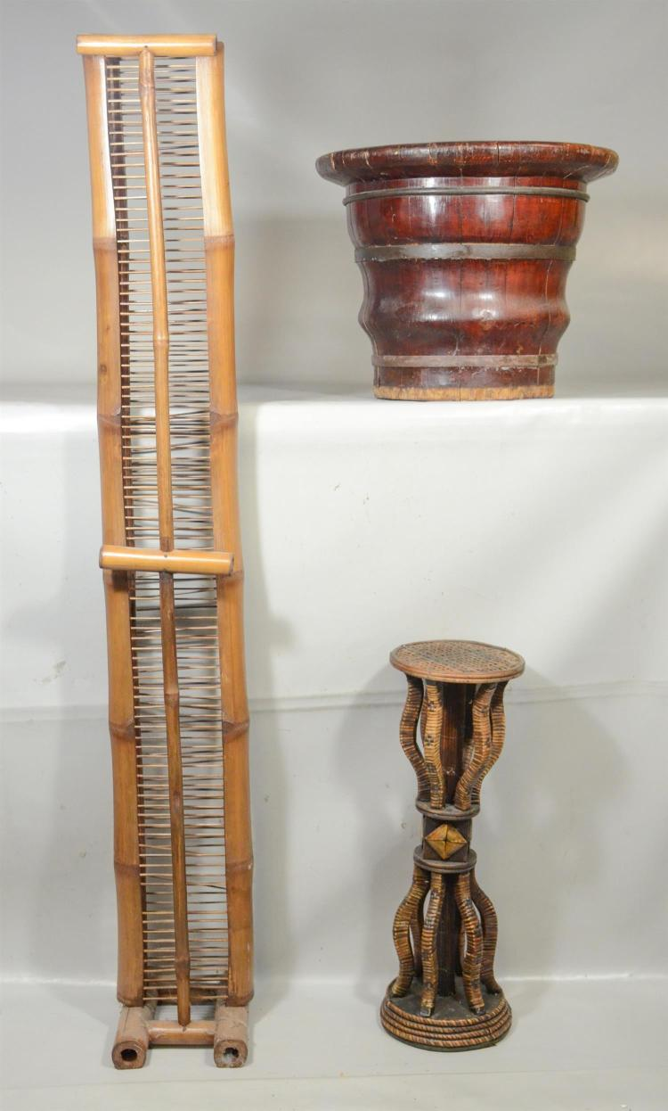 3 Asian Pieces Including Bamboo Rack As Is Chinese Banded Wooden