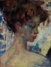 "Luigi Corbellini (Italian, 1901-1968), Portrait of a Young Girl, oil on canvas, signed ""Corbellini"", custom carved frame, 14"" x 10-3..."