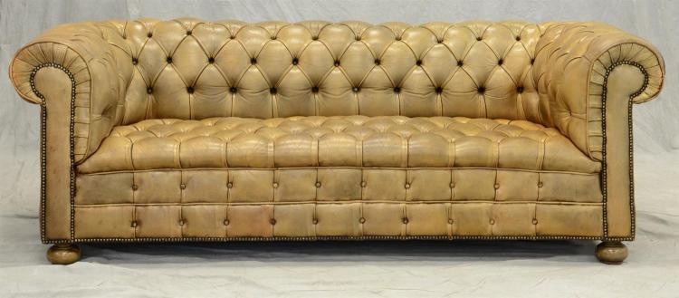 gold leather upholstered chesterfield sofa 30 1 2 h 85 w. Black Bedroom Furniture Sets. Home Design Ideas