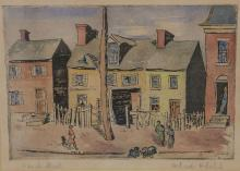 """Gertrude Howland Balch (American, b 1909), color woodcut, French Street, pencil signed lower right, 5-1/4"""" x 7-3/4"""" image, 12-1/4"""" x..."""