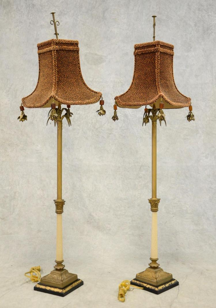Pair Of Plantation Style Pole Lamps With Leopard Design Shad