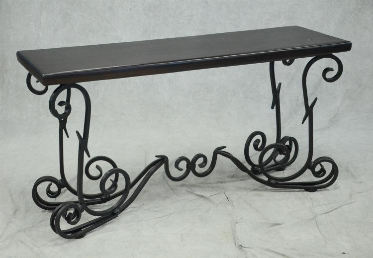 Wrought iron base wood top console table 31 h 59 w 18 for Wrought iron sofa table base