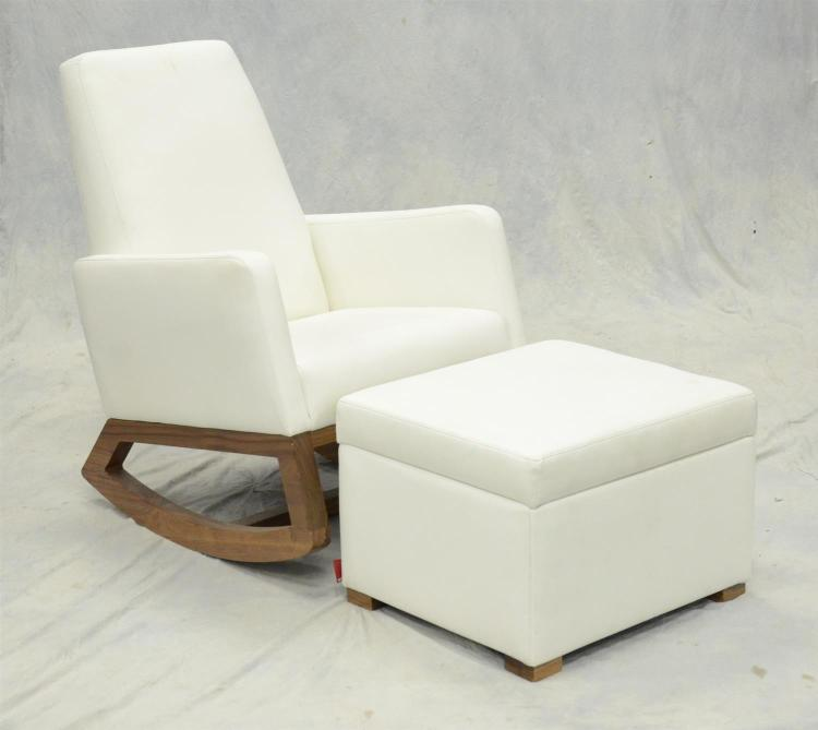 Monte Contemporary White Leather And Teak Rocking Chair And Ottoman