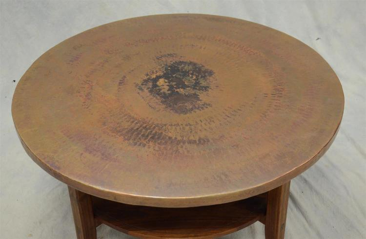 Daniel Mayo Custom Teak Coffee Table With Hammered Copper To