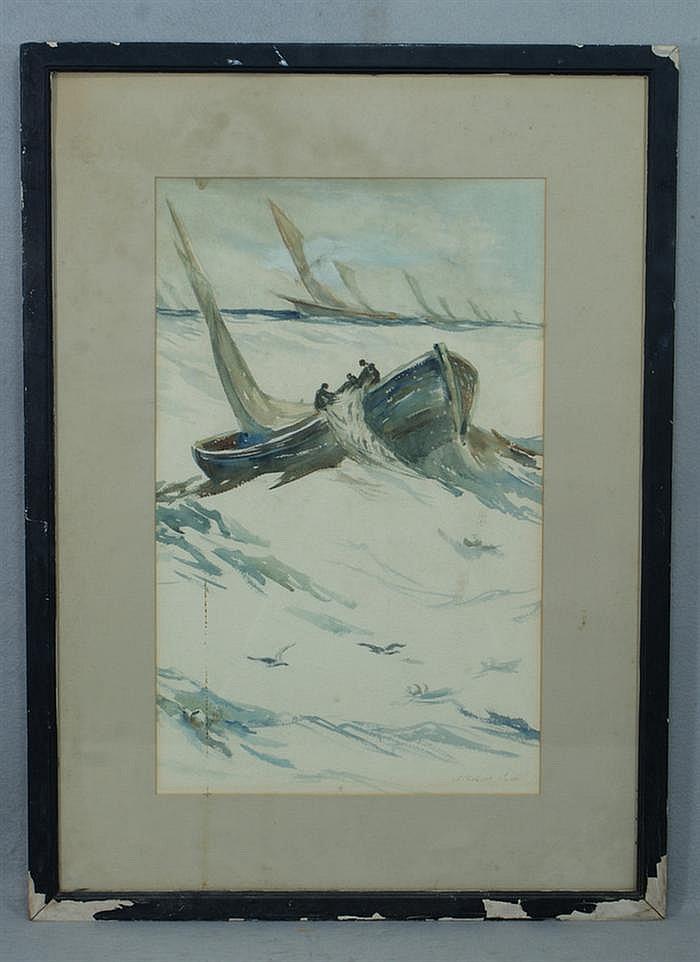 Samuel Chatwood Burton, European, 1881-1947, w/c, Fishing Boats Hauling in Nets, signed bottom right, 18
