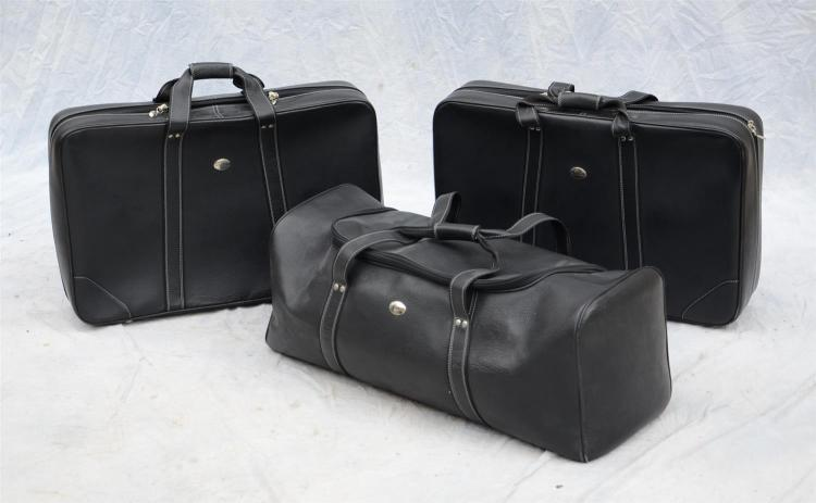 Three pieces handmade leather luggage by schedoni for merced for Mercedes benz suitcase