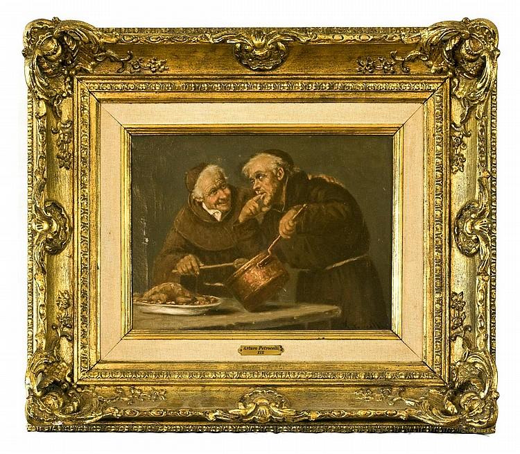 Arturo Petrocelli, Italian, 1856-1926, o/c, Monks Tasting Sauce, 9 1/2