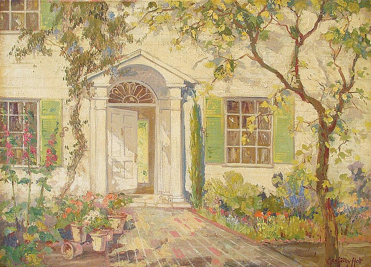 Geoffrey Holt, 1882 - 1977, California, oil on canvas, Inviting Doorway, 22