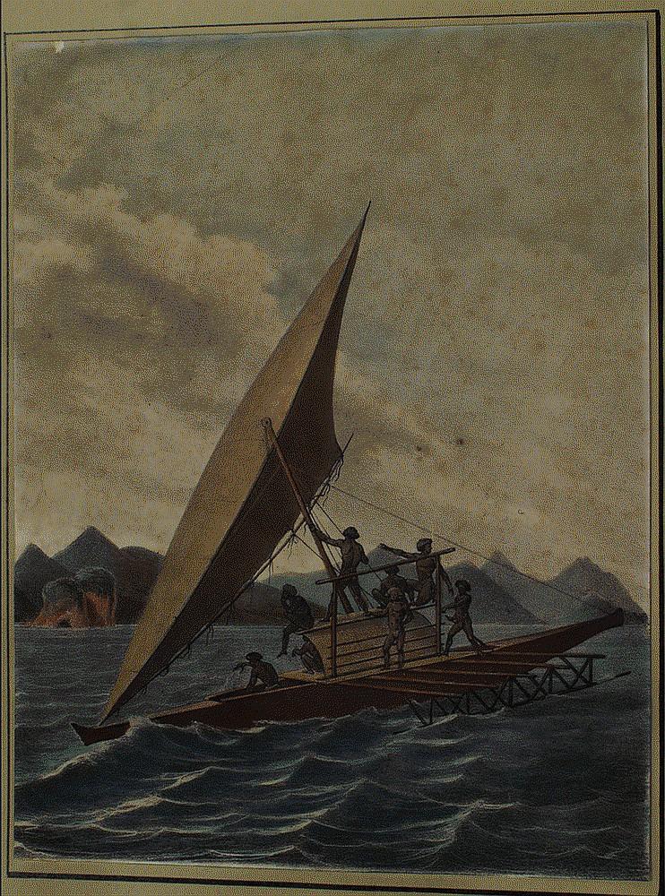 Louis Auguste De Sainson, colored lithograph, Vue De L'Ile Kandabon, cut down from the original format to about 40% of original size..