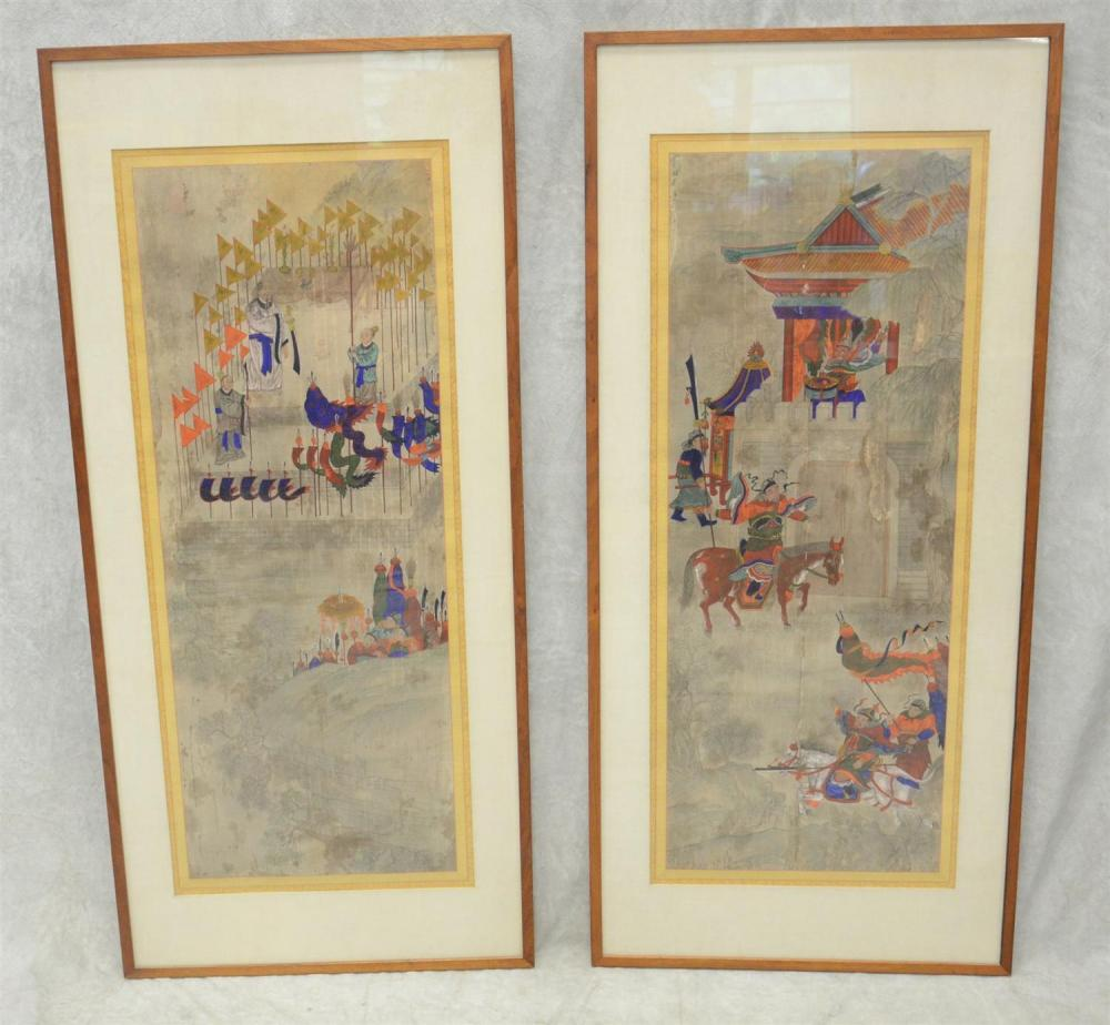Antique Chinese Scrolls: Pr Antique Chinese Scroll Paintings, Watercolor On Paper Mou