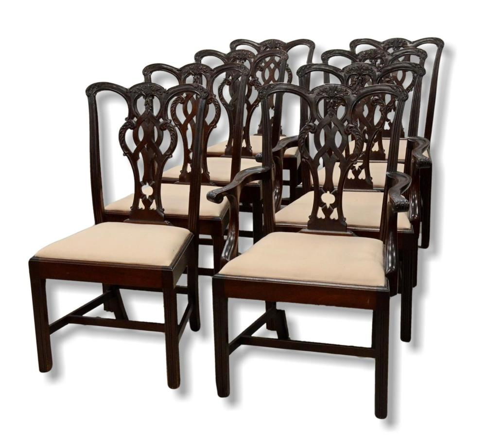 Chippendale Mahogany Dining Room Chairs: 8 Chippendale Style Mahogany Dining Room Chairs, Set Include