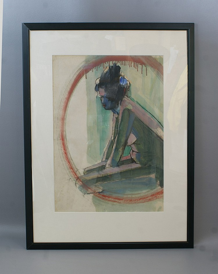 Tom Bostelle, American, PA, 1921-2005, mixed media on paper,