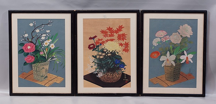 (3) Bakufu Ohno, Japanese, 188-1976, Colored Woodblock, Chinese School, Floral Still-Lives, each 15