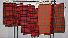 8 Scottish Textiles to include 1 McGregor traditional tartan, 1 McDonald of Sleat tartan, and 6 Robertson traditional tartans