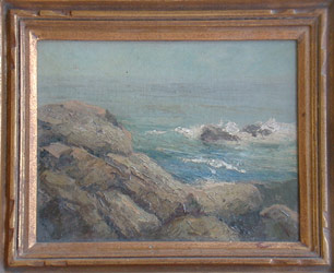 "Leon Bonnet, American, 1868-1936, Rocks at Ogonquit Maine, Private collection, oil on canvas board 8 x 10, Written on verso ""Rocks at Ogonquit, Maine, sketch made June, 1924 Leon Bonnet"", Very good condition,"