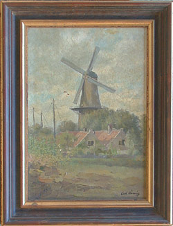 Carl Hennig, German, 1871-1959, Windmill Landscape, Private collection, oil on canvas 18 ½ x 13, Signed by the artist L.R., Very good condition,