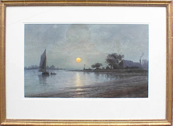 George Essig, American, 1838-1926, Twighlight on Bay with Sailboat, watercolor, 11 1/2 x 19 1/2, Private Collection, Signed by the artist LL,