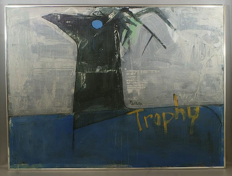Tom Bostelle, American, PA, 1921-2005, mixed media on lauan,