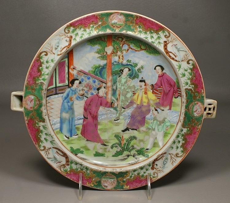 Chinese Export Mandarin Hot Water Dish, 11