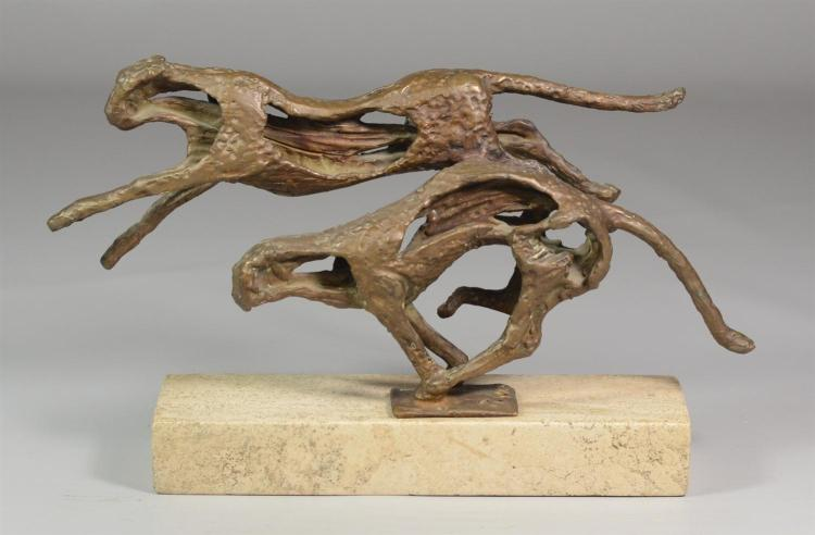 Robert Cook, American, (b 1921) bronze sculpture, Striking Cheetah, 12