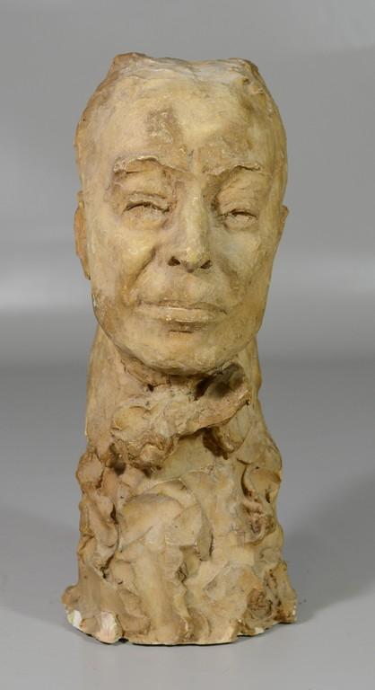 Agnes Yarnall (American, 1904-1998), plaster bust of a man, dated  1956, 15